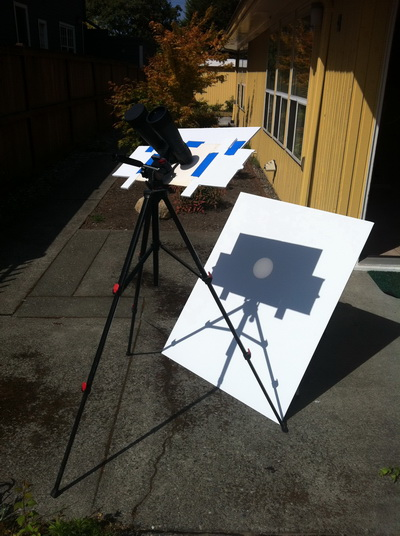 Solar Viewing setup with Binoculars on a tripod